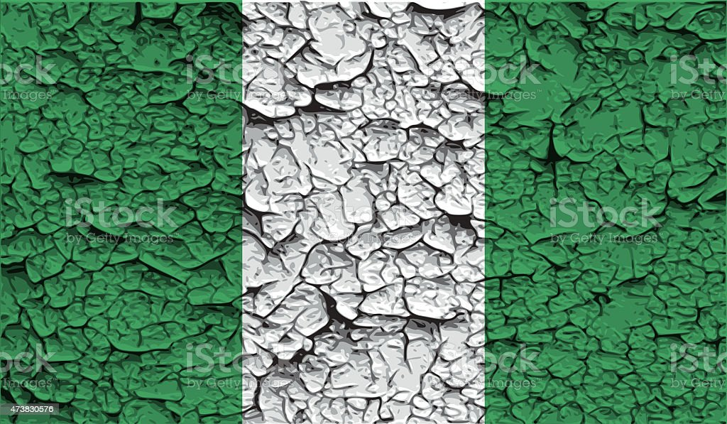 Flag of Nigeria with old texture. stock photo
