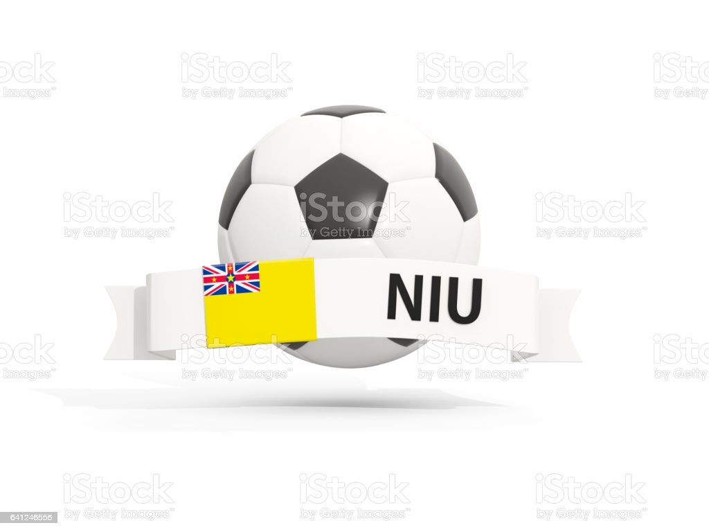 Flag of niue, football with banner and country code stock photo