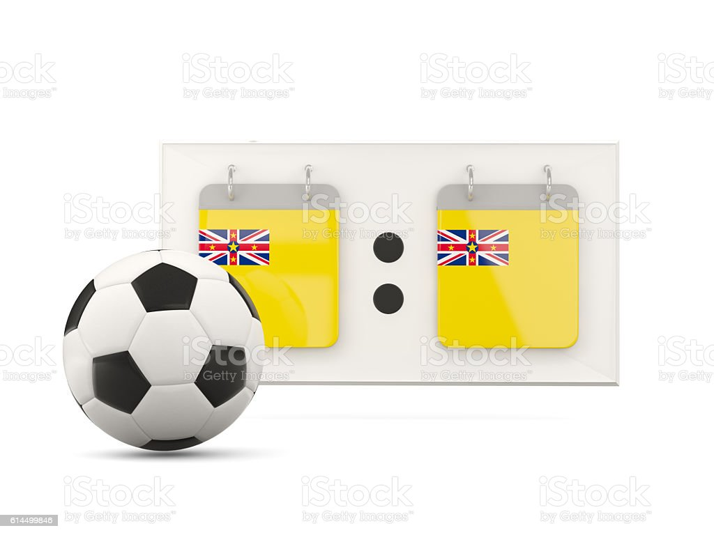 Flag of niue, football with scoreboard stock photo