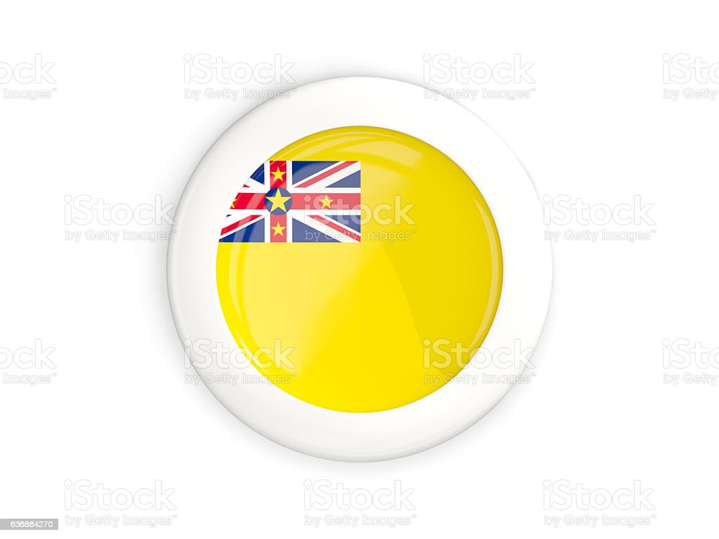 Flag of niue, glossy round button stock photo