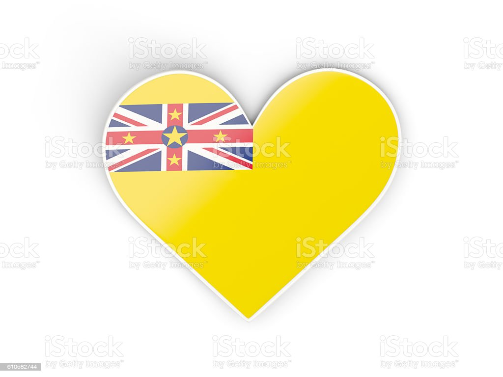 Flag of niue, heart shaped sticker stock photo