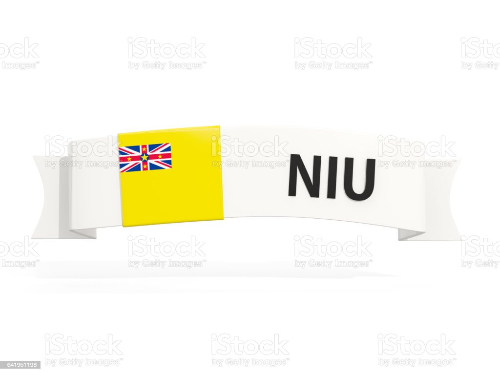 Flag of niue on banner stock photo