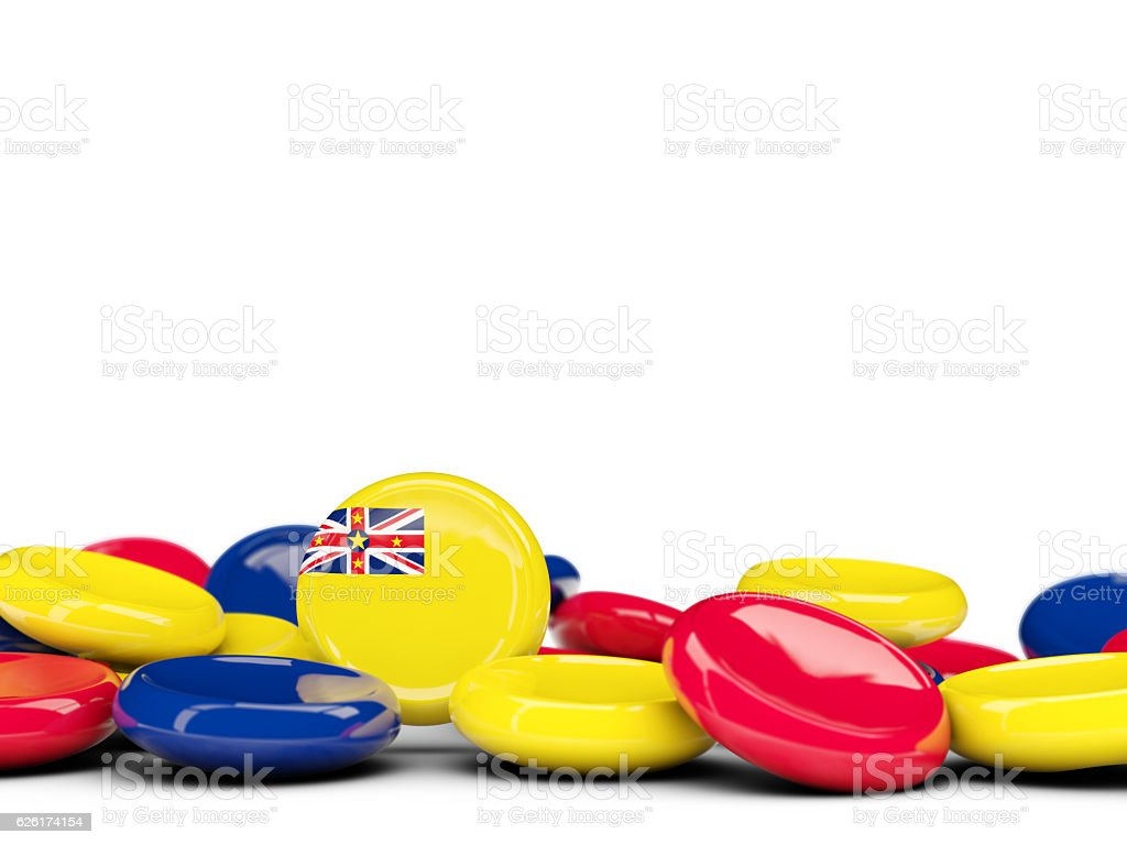 Flag of niue, round buttons stock photo