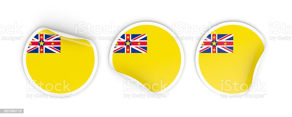 Flag of niue, round labels stock photo