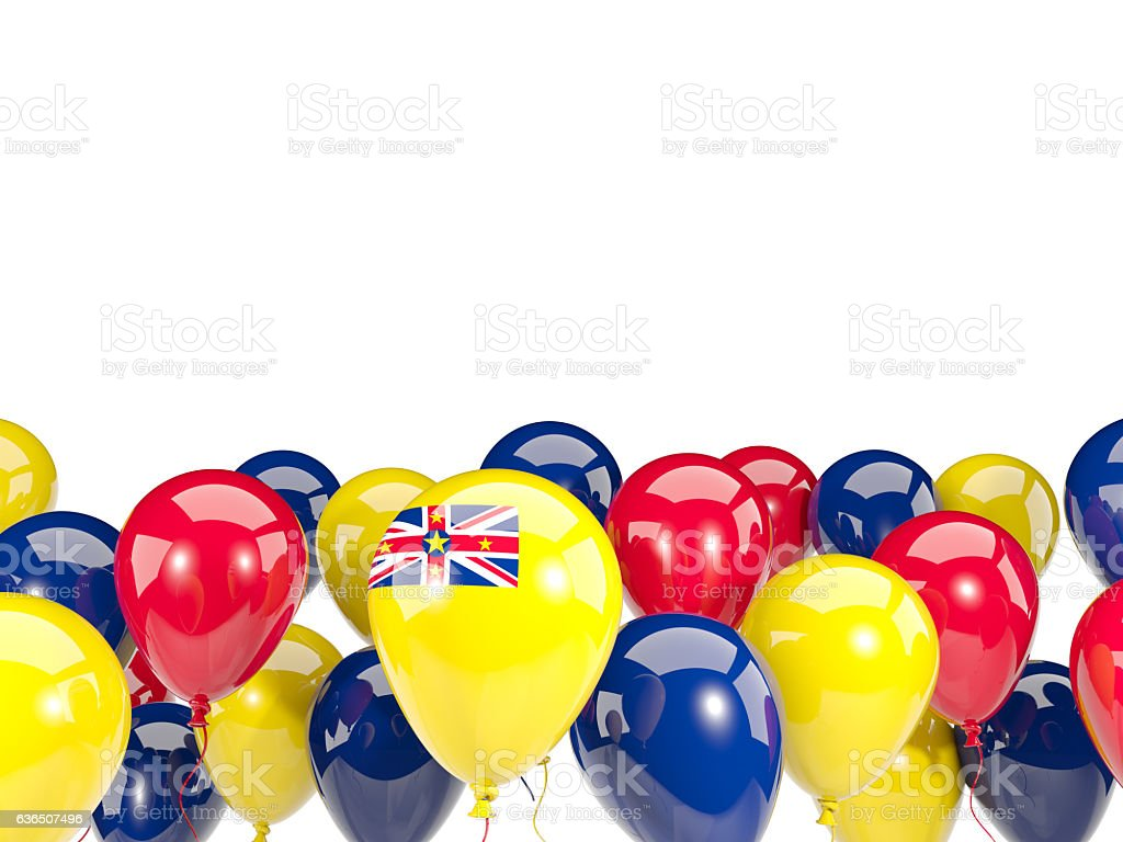 Flag of niue with balloons stock photo