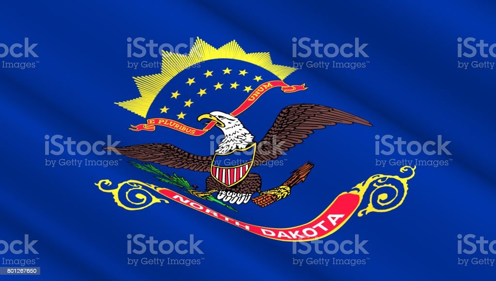 Flag of North Dakota state stock photo