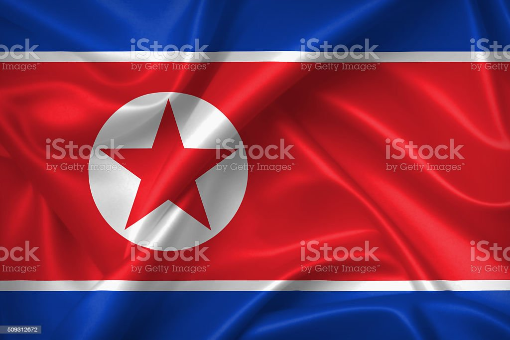 Flag of North Korea 3D, silk texture stock photo
