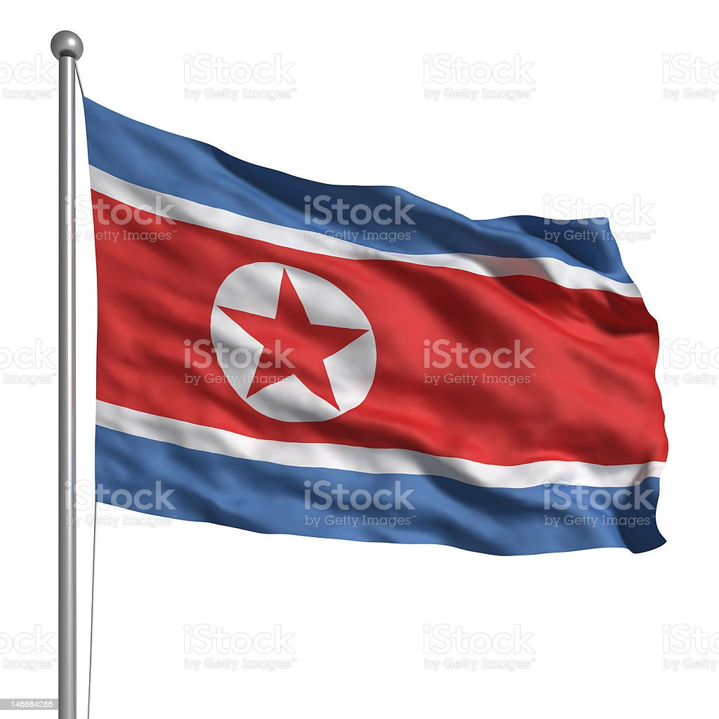 Flag of North Korea (Isolated) stock photo
