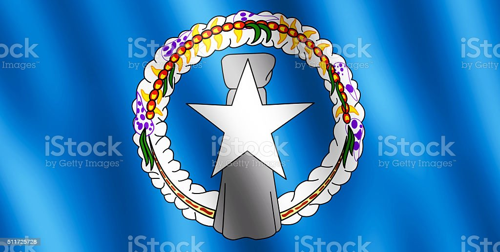 Flag of Northern Mariana Island waving in the wind stock photo