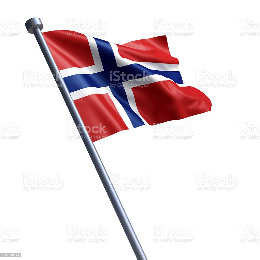 Flag of Norway isolated on white stock photo