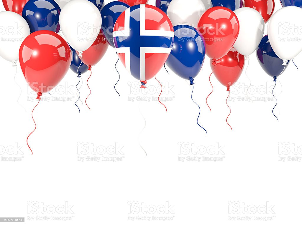 Flag of norway on balloons stock photo