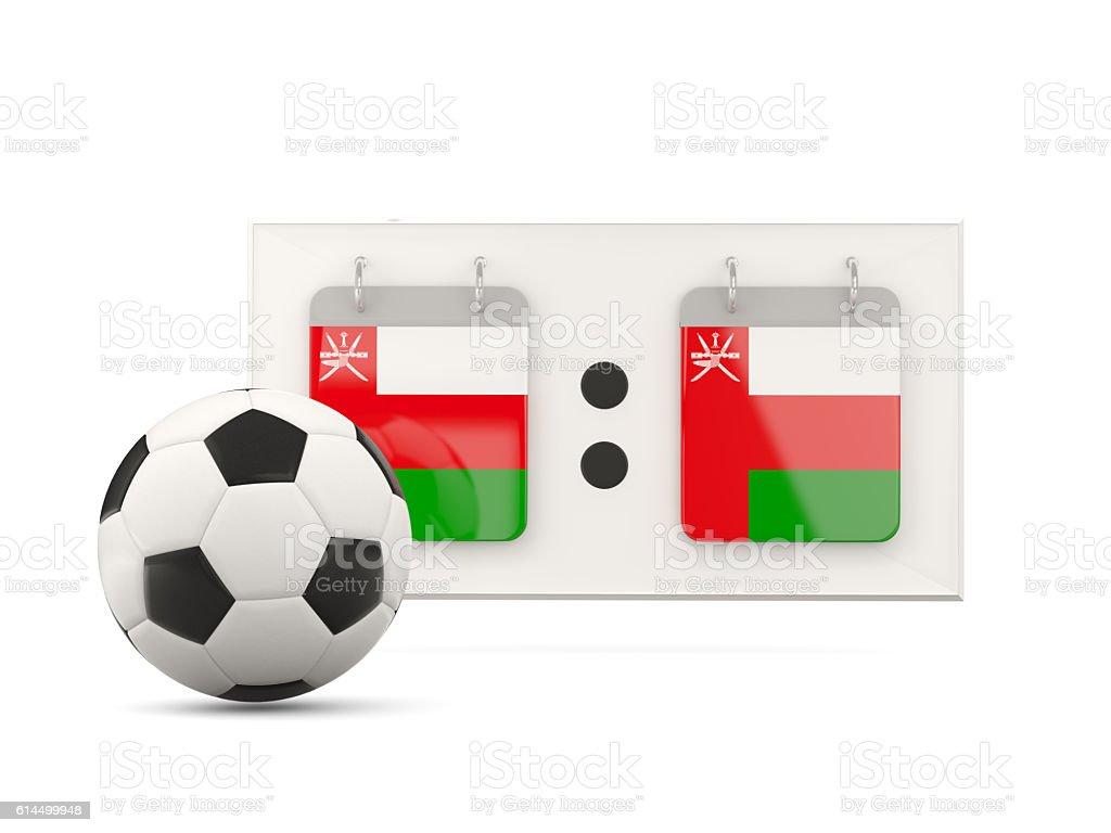 Flag of oman, football with scoreboard stock photo