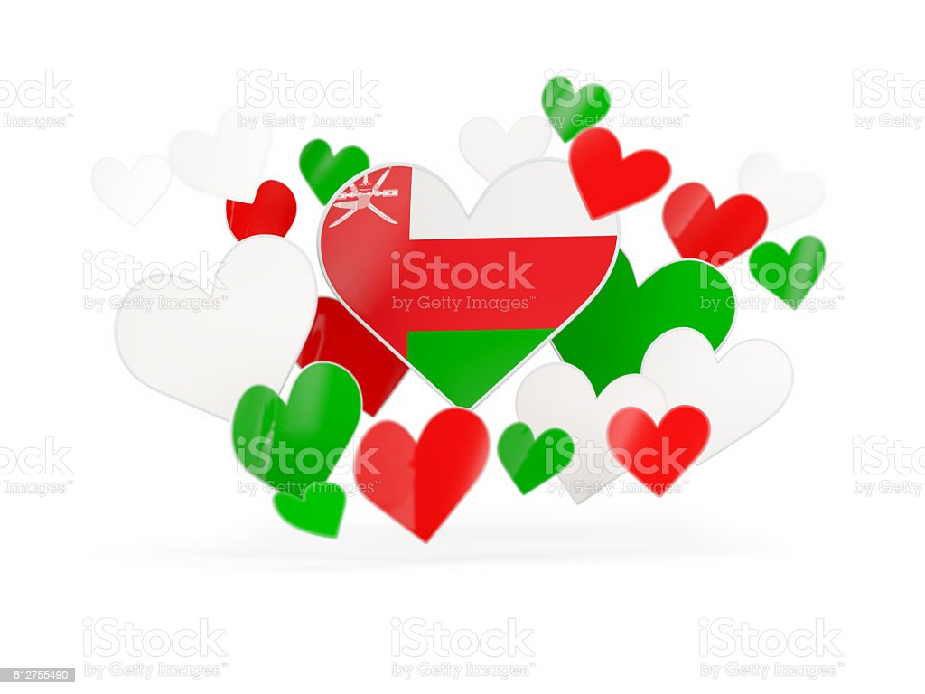 Flag of oman, heart shaped stickers stock photo