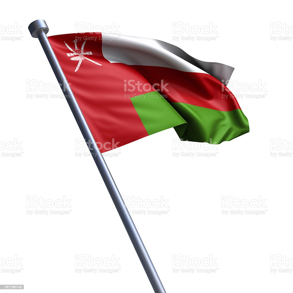 Flag of Oman isolated on white stock photo
