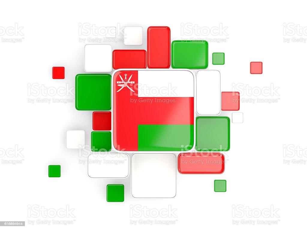 Flag of oman, mosaic background stock photo
