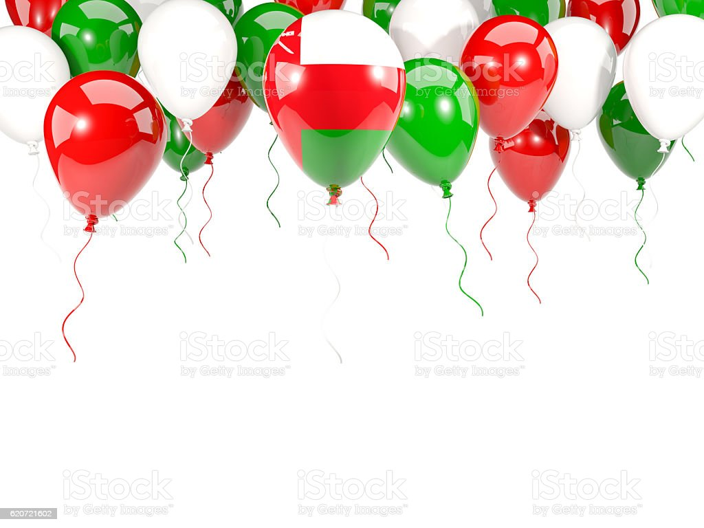 Flag of oman on balloons stock photo