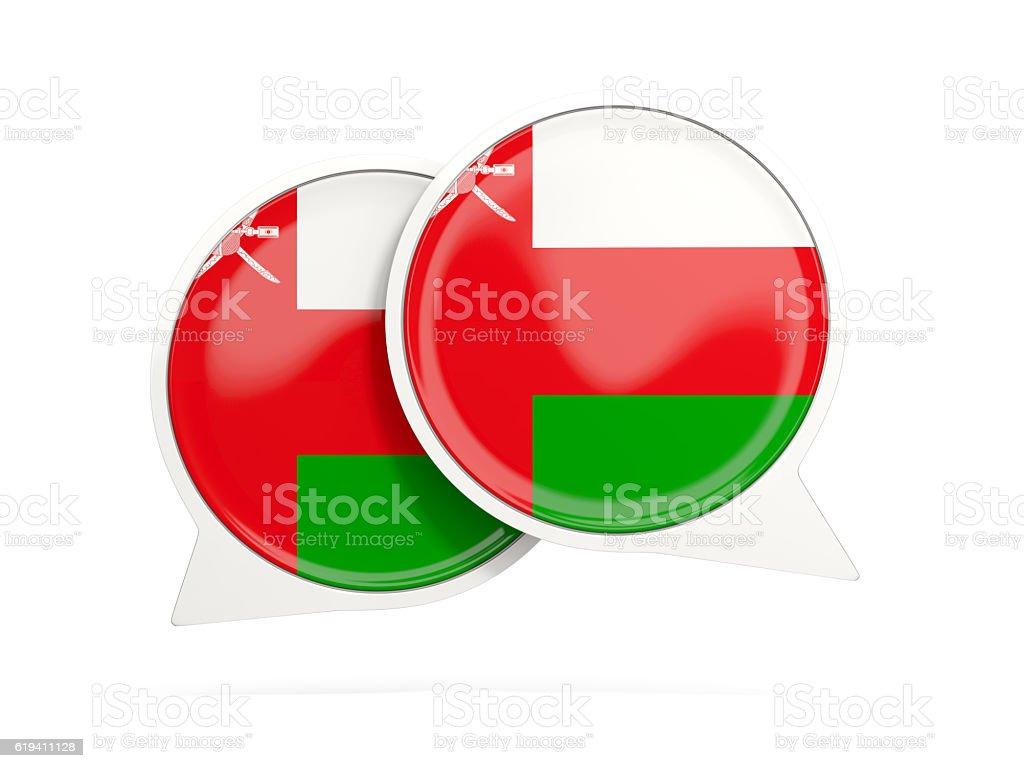 Flag of oman, round chat icon stock photo