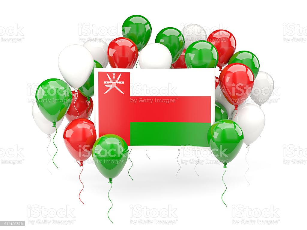 Flag of oman with balloons stock photo