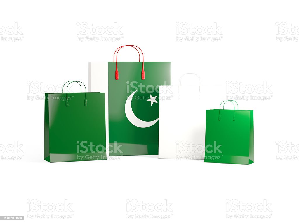 Flag Of Pakistan On Shopping Bags stock photo 618761526 | iStock