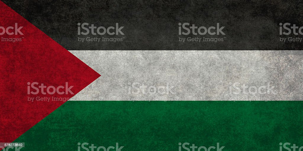Flag of Palestine, distressed version stock photo