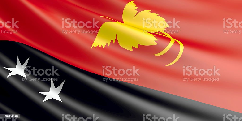 Flag of Papua New Guinea waving in the wind. royalty-free stock vector art