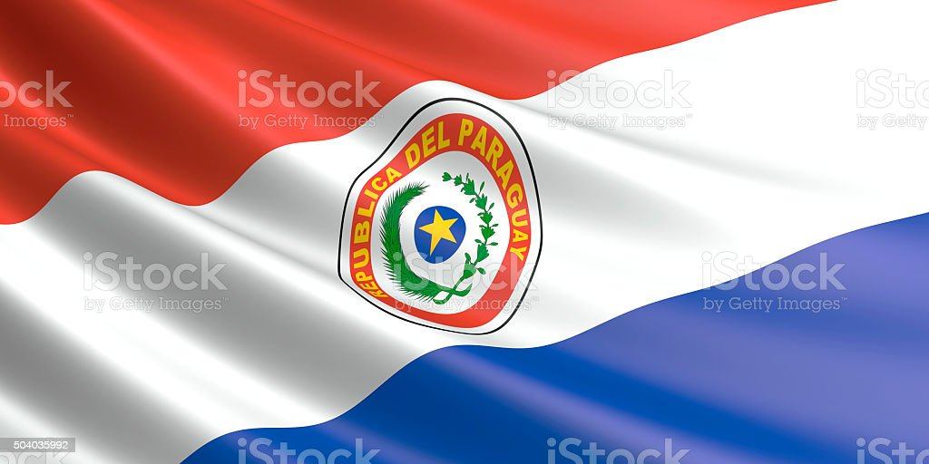 Flag of Paraguay waving in the wind. royalty-free stock photo