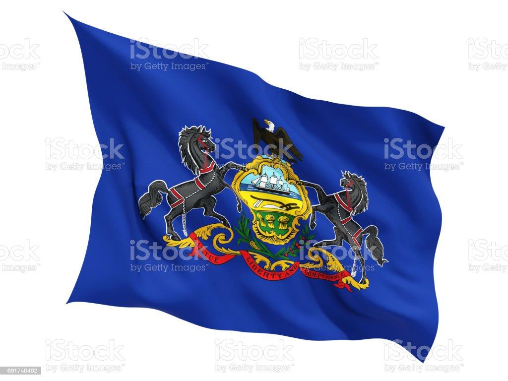 Flag of pennsylvania, US state fluttering flag stock photo