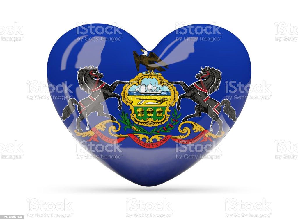 Flag of pennsylvania, US state heart icon stock photo