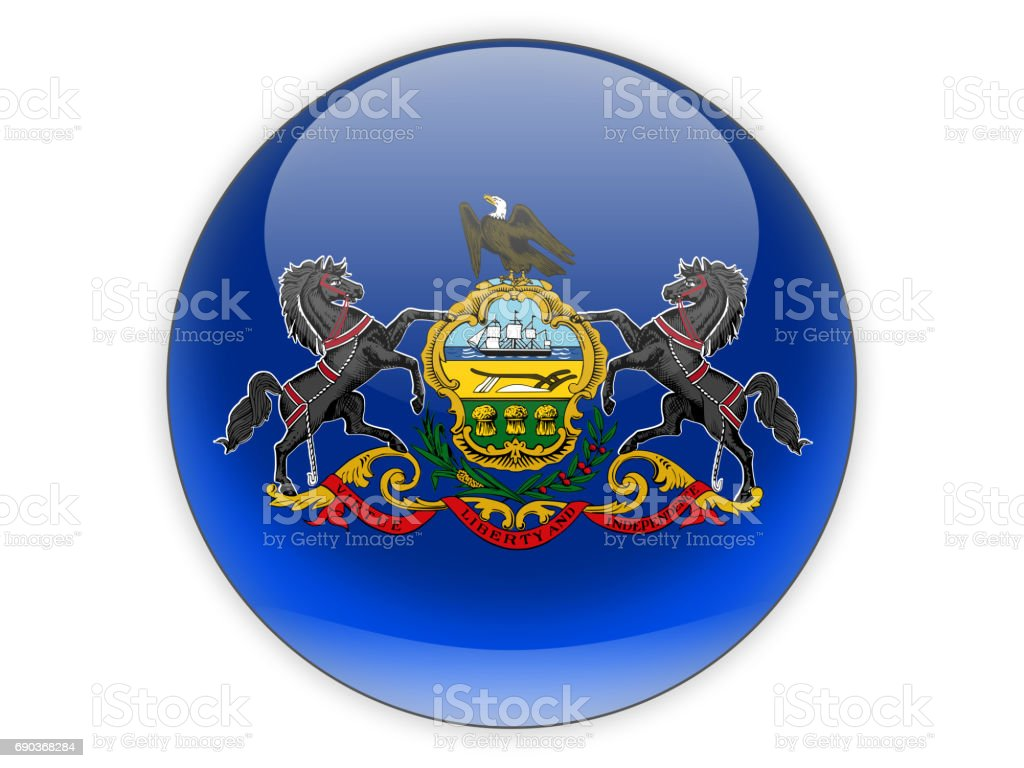 Flag of pennsylvania, US state icon stock photo