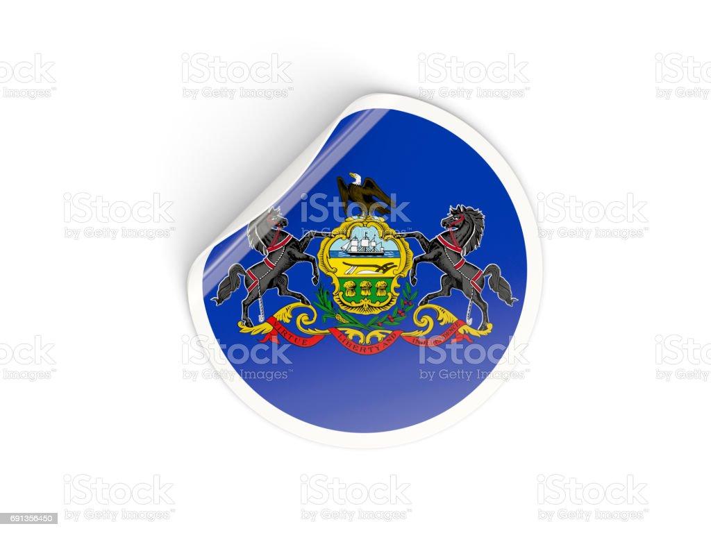 Flag of pennsylvania, US state round sticker stock photo