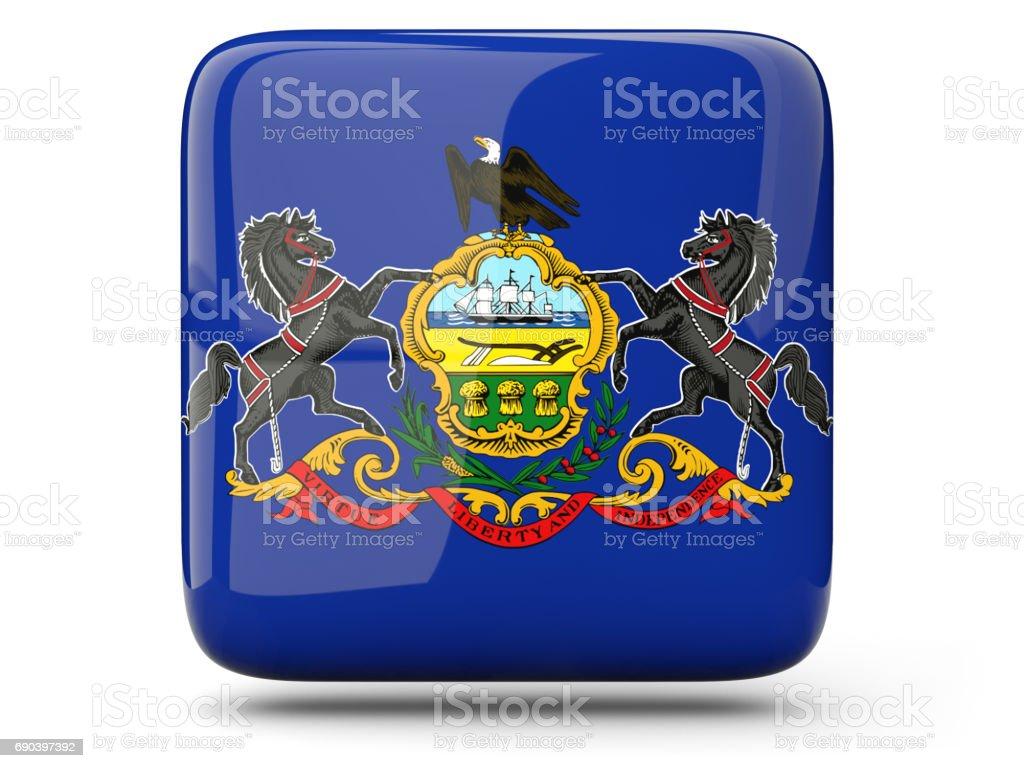 Flag of pennsylvania, US state square icon stock photo