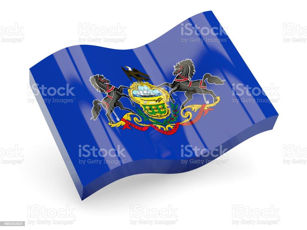 Flag of pennsylvania, US state wave icon stock photo