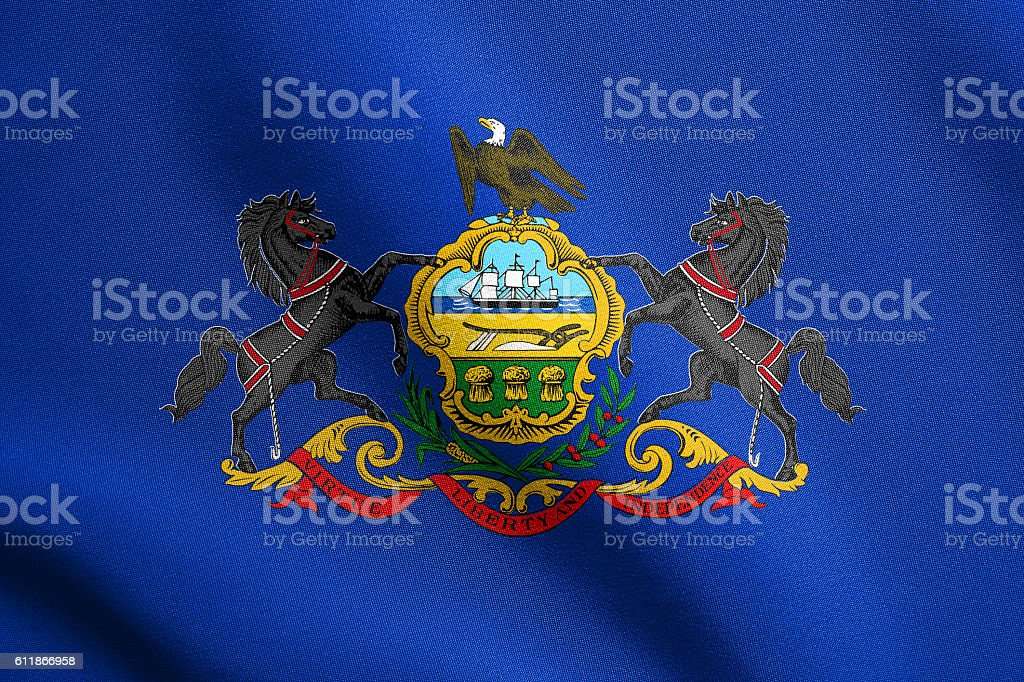 Flag of Pennsylvania waving with fabric texture stock photo