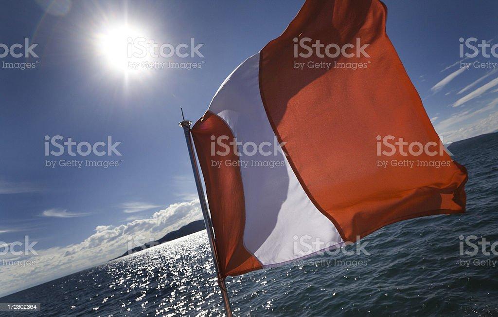 Flag of Peru on Lake Titicaca royalty-free stock photo