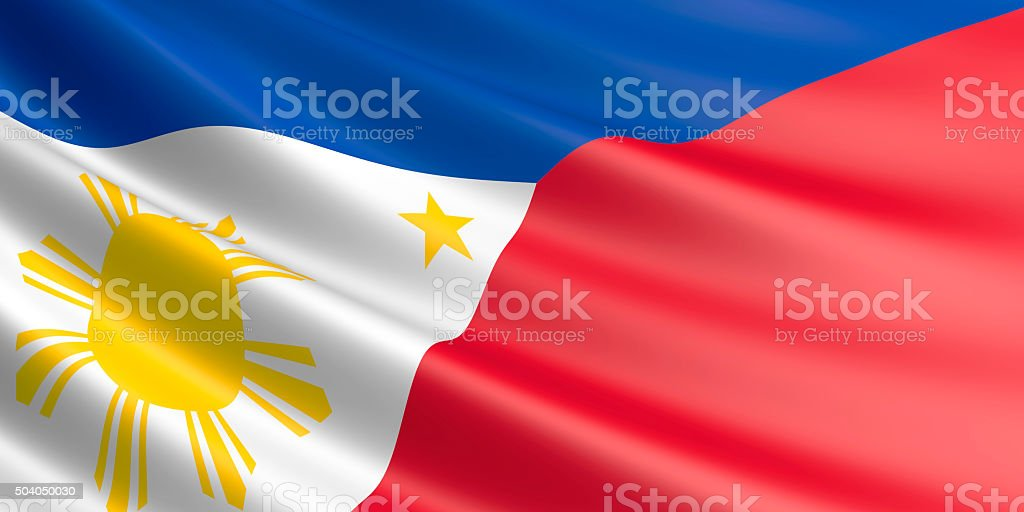 Flag of Philippines waving in the wind. royalty-free stock vector art