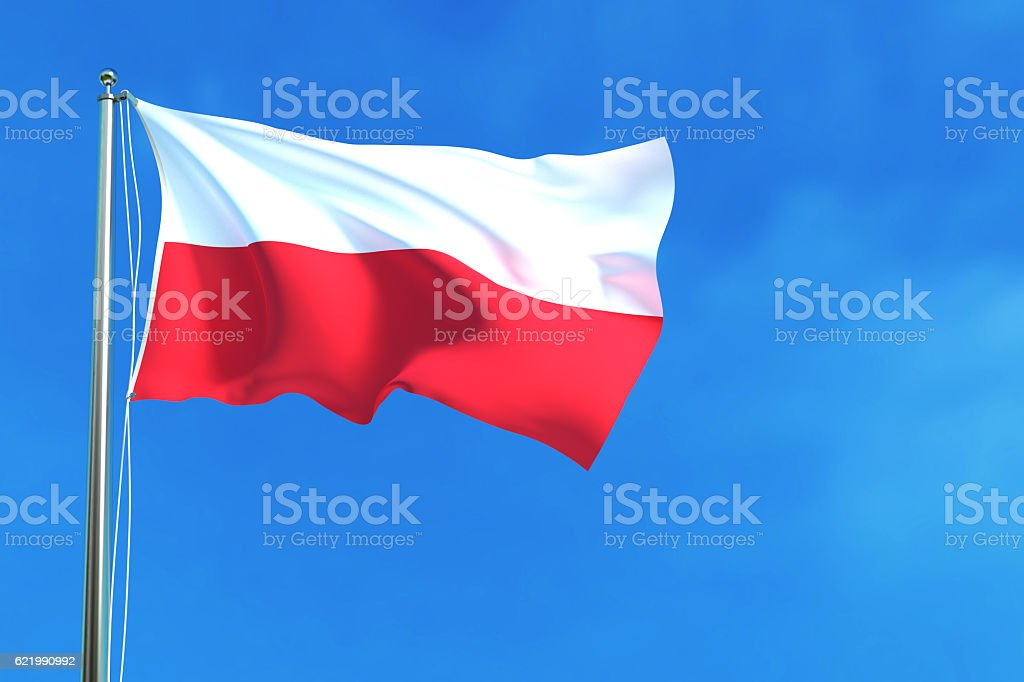 Flag of Poland on the blue sky background. stock photo