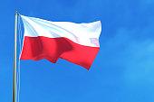 Flag of Poland on the blue sky background.