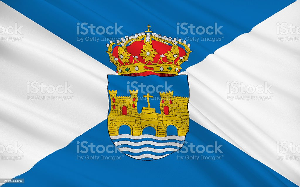Flag of Pontevedra is a province of Spain stock photo