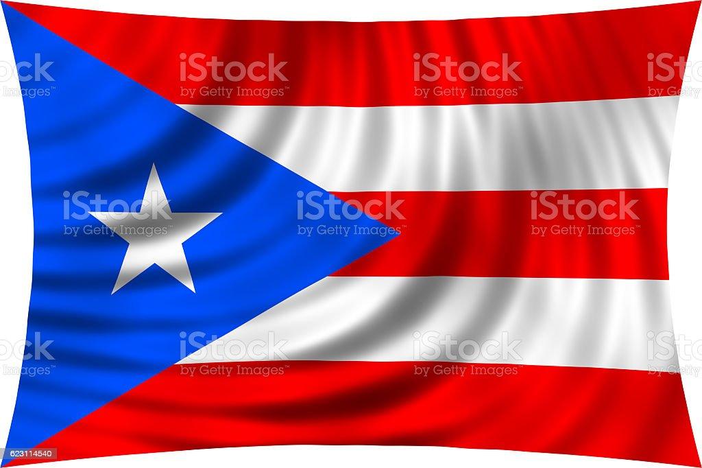 Flag of Puerto Rico waving isolated on white stock photo