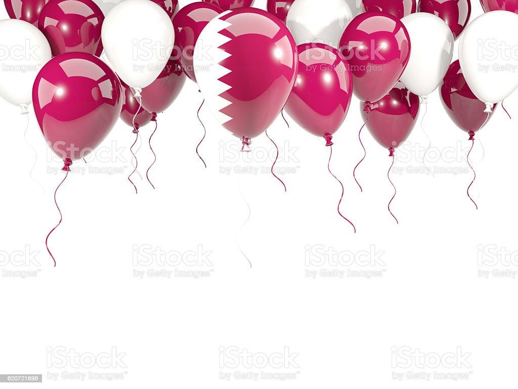 Flag of qatar on balloons stock photo