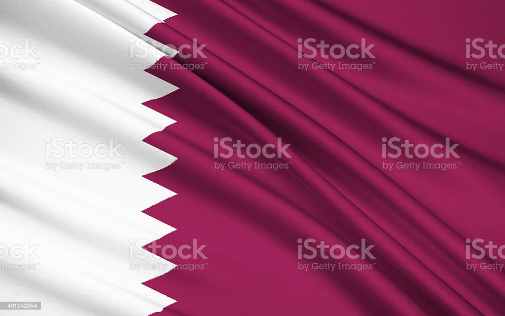 Flag of Qatar stock photo