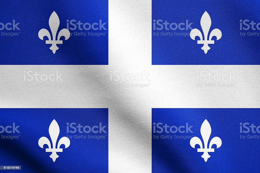 Flag of Quebec waving with fabric texture stock photo