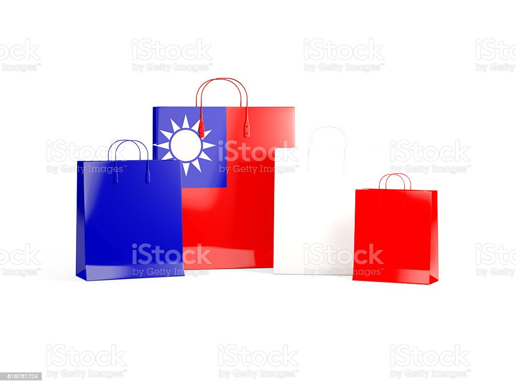 Flag of republic of china on shopping bags stock photo