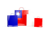 Flag of republic of china on shopping bags