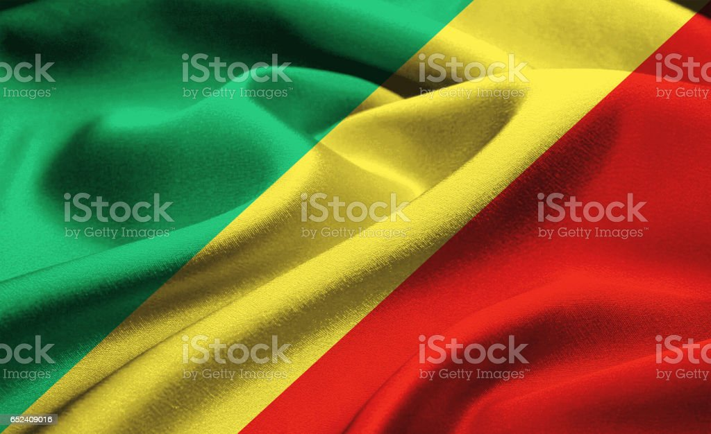 Flag of Republic of the Congo stock photo