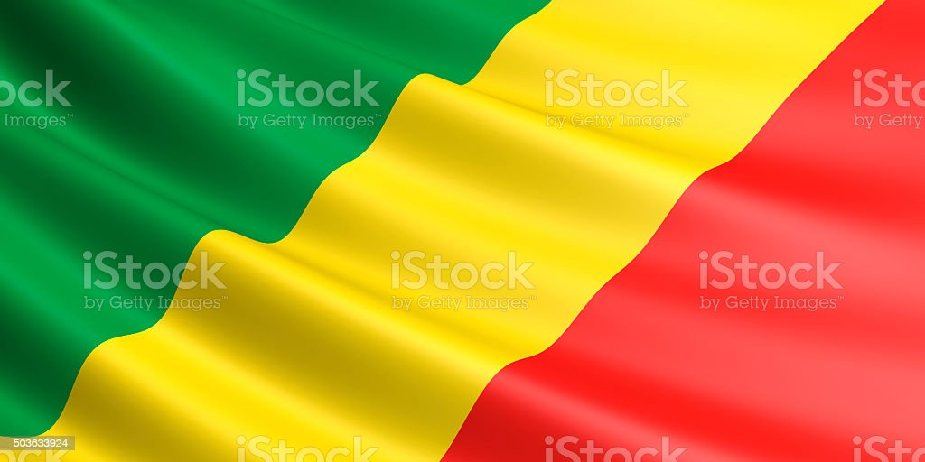 Flag of Republic of the Congo waving in the wind. royalty-free stock photo