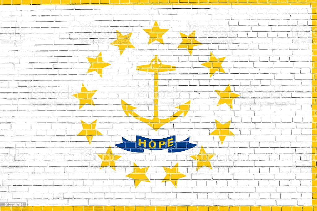 Flag of Rhode Island brick wall texture background stock photo