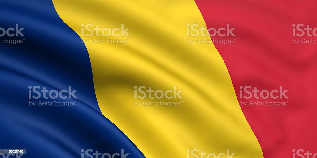 Flag Of Romania / Chad stock photo