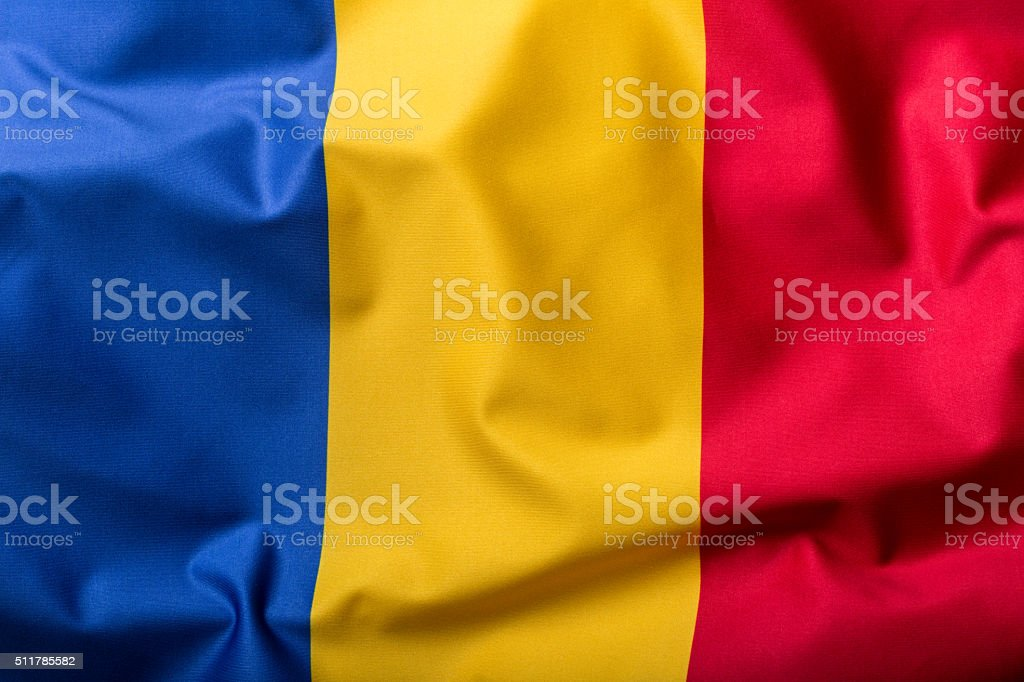 Flag of Romania, national country symbol, wave flag stock photo