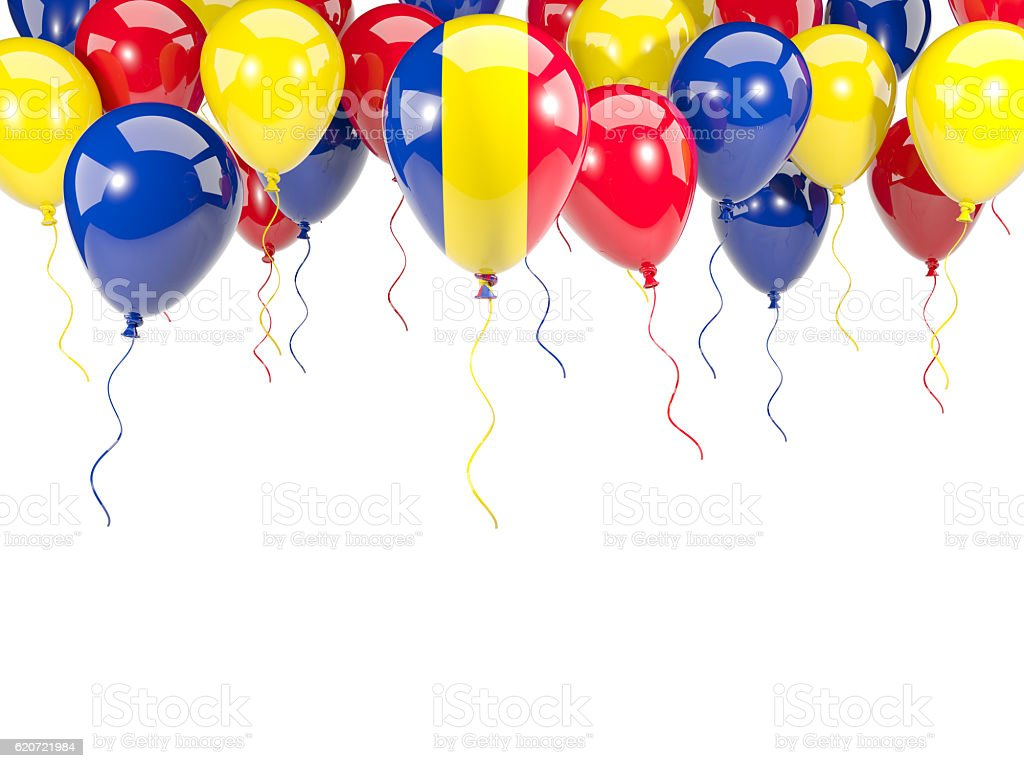 Flag of romania on balloons stock photo